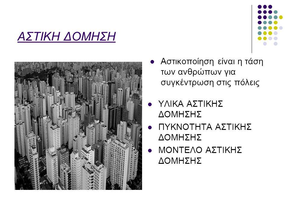 ΑΣΤΙΚΗ ΔΟΜΗΣΗ Αστικοποίηση είναι η τάση των ανθρώπων για συγκέντρωση στις πόλεις. ΥΛΙΚΑ ΑΣΤΙΚΗΣ ΔΟΜΗΣΗΣ.