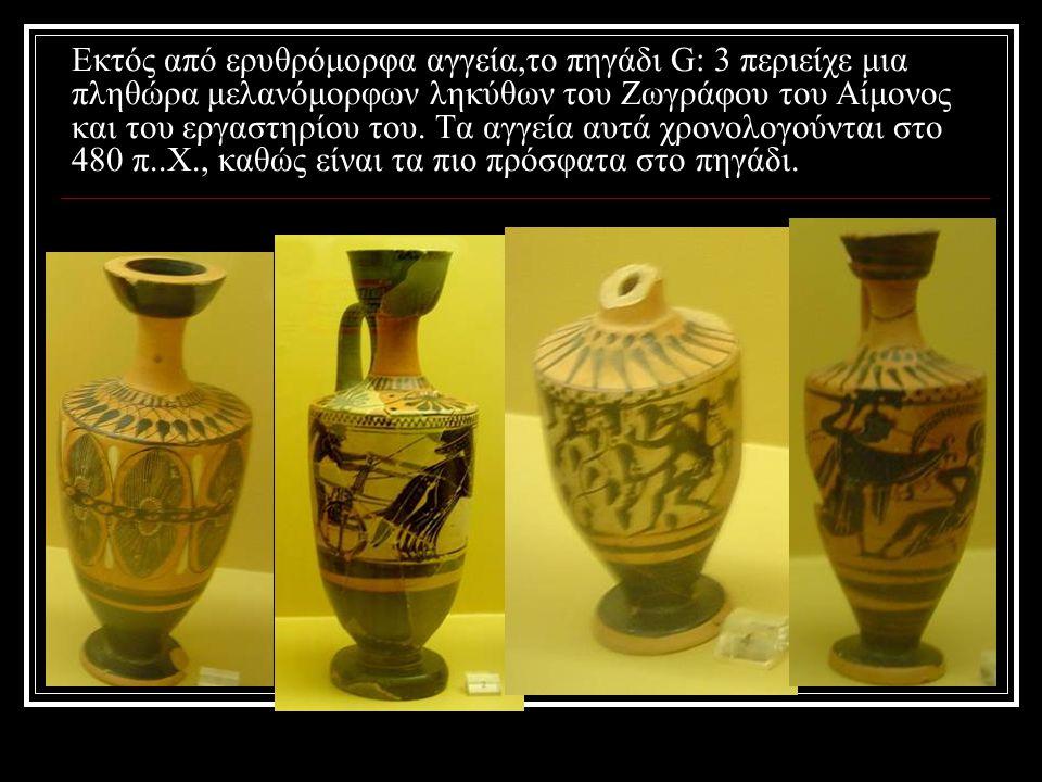 Εκτός από ερυθρόμορφα αγγεία,το πηγάδι G: 3 περιείχε μια πληθώρα μελανόμορφων ληκύθων του Ζωγράφου του Αίμονος και του εργαστηρίου του.