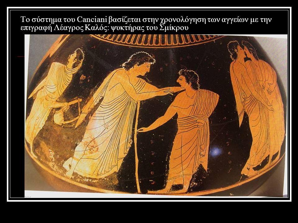Το σύστημα του Canciani βασίζεται στην χρονολόγηση των αγγείων με την επιγραφή Λέαγρος Καλός: ψυκτήρας του Σμίκρου