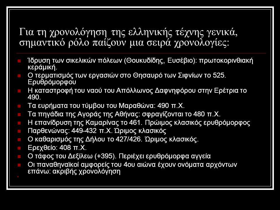 Για τη χρονολόγηση της ελληνικής τέχνης γενικά, σημαντικό ρόλο παίζουν μια σειρά χρονολογίες: