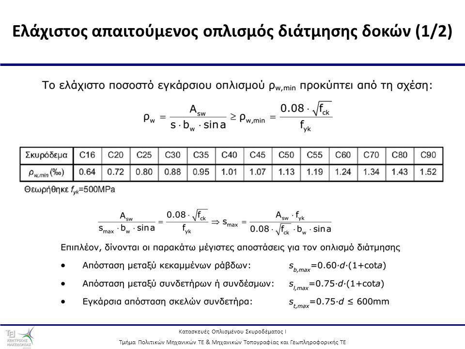 Ελάχιστος απαιτούμενος οπλισμός διάτμησης δοκών (1/2)