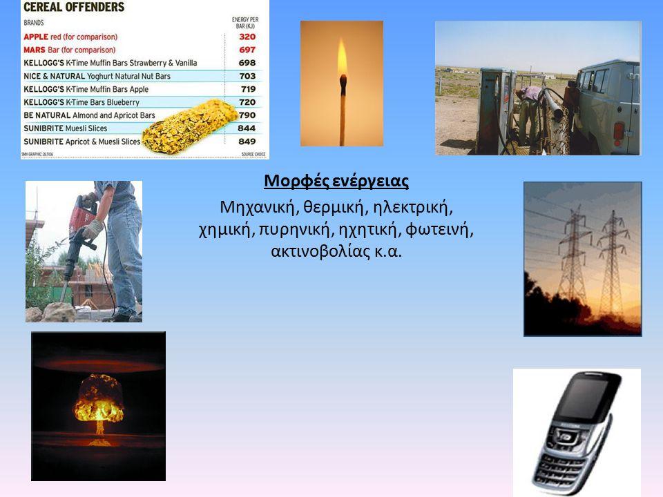 Μορφές ενέργειας Μηχανική, θερμική, ηλεκτρική, χημική, πυρηνική, ηχητική, φωτεινή, ακτινοβολίας κ.α.