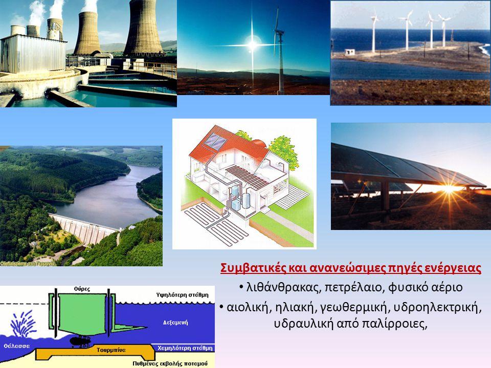 Συμβατικές και ανανεώσιμες πηγές ενέργειας