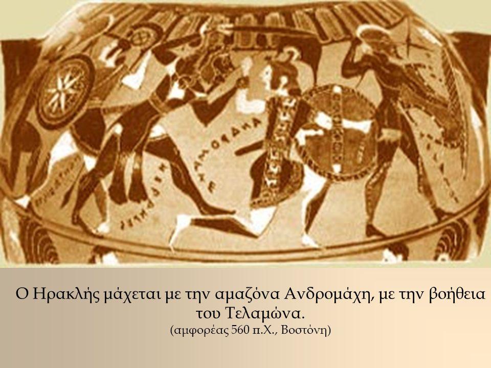 Ο Ηρακλής μάχεται με την αμαζόνα Ανδρομάχη, με την βοήθεια του Τελαμώνα.