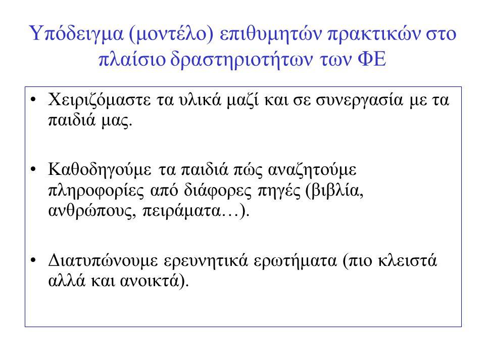 Υπόδειγμα (μοντέλο) επιθυμητών πρακτικών στο πλαίσιο δραστηριοτήτων των ΦΕ