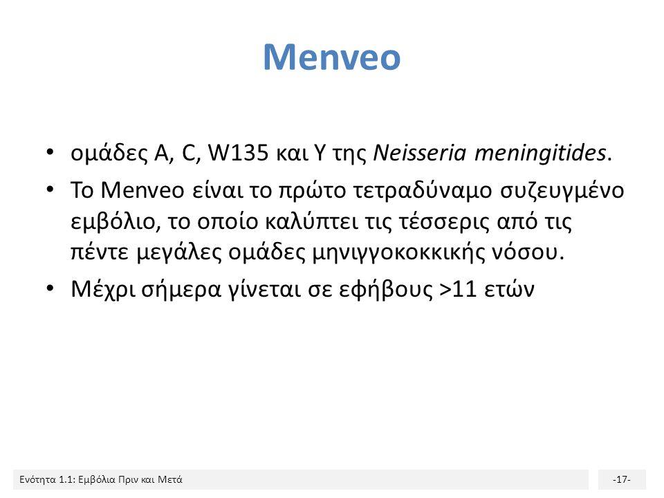Menveo ομάδες Α, C, W135 και Υ της Neisseria meningitides.