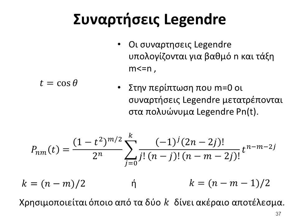 Αναπαράσταση Συναρτήσεων Legendre