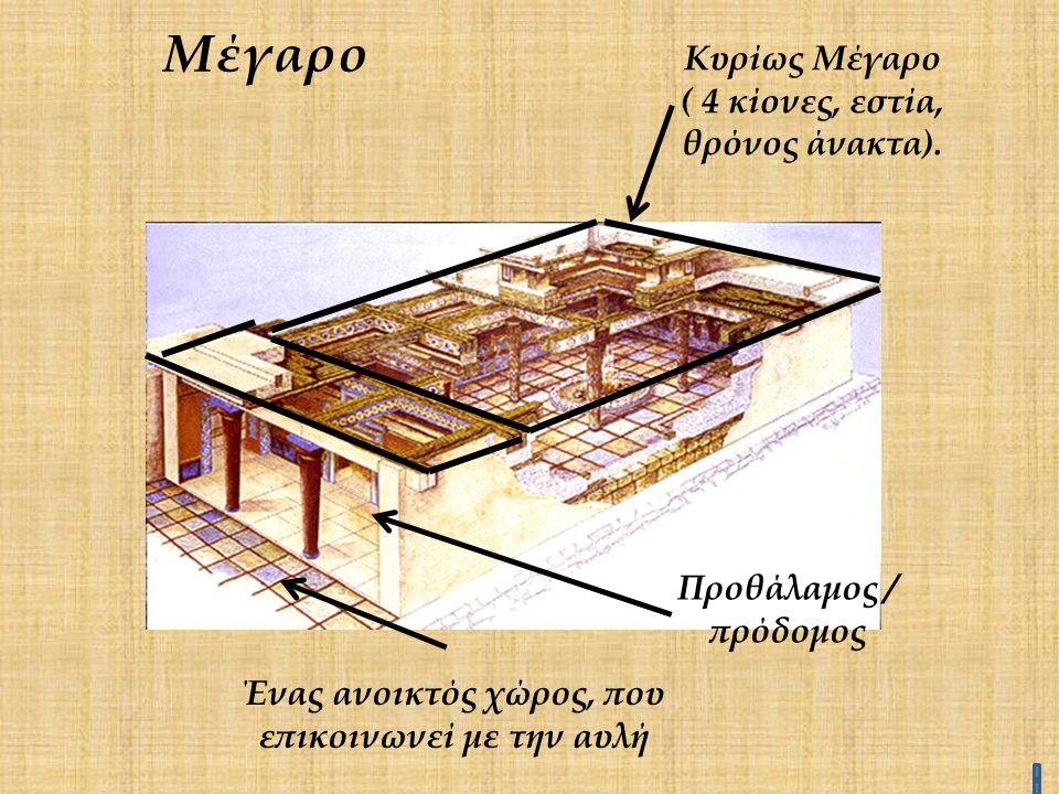 Μέγαρο Κυρίως Μέγαρο ( 4 κίονες, εστία, θρόνος άνακτα).