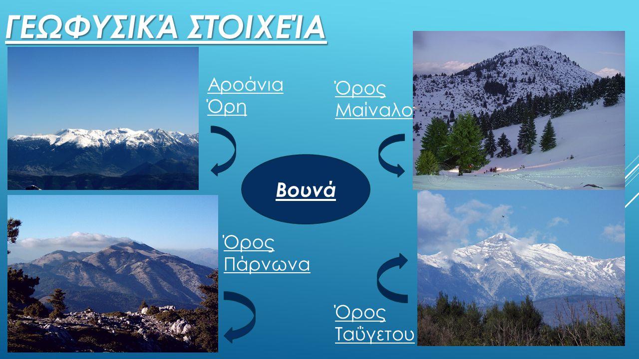 Γεωφυσικά στοιχεία Βουνά Αροάνια Όρη Όρος Μαίναλο Όρος Πάρνωνα