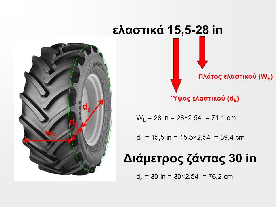 ελαστικά 15,5-28 in Διάμετρος ζάντας 30 in dz dE wE