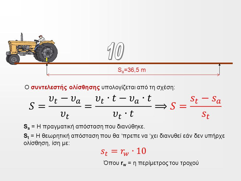 10 Sa=36,5 m Ο συντελεστής ολίσθησης υπολογίζεται από τη σχέση: