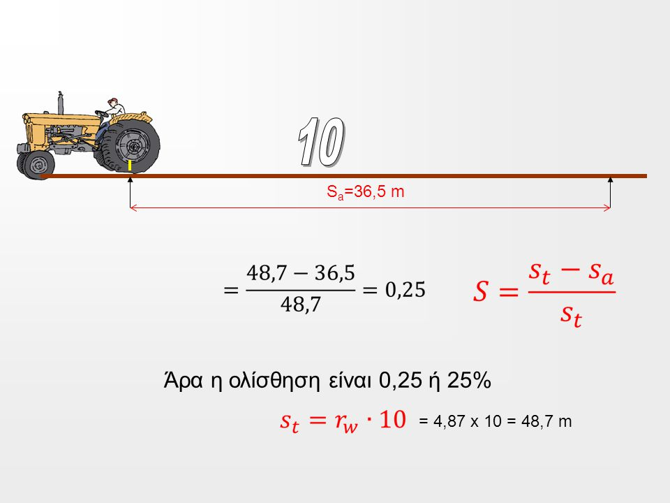 10 Sa=36,5 m Άρα η ολίσθηση είναι 0,25 ή 25% = 4,87 x 10 = 48,7 m