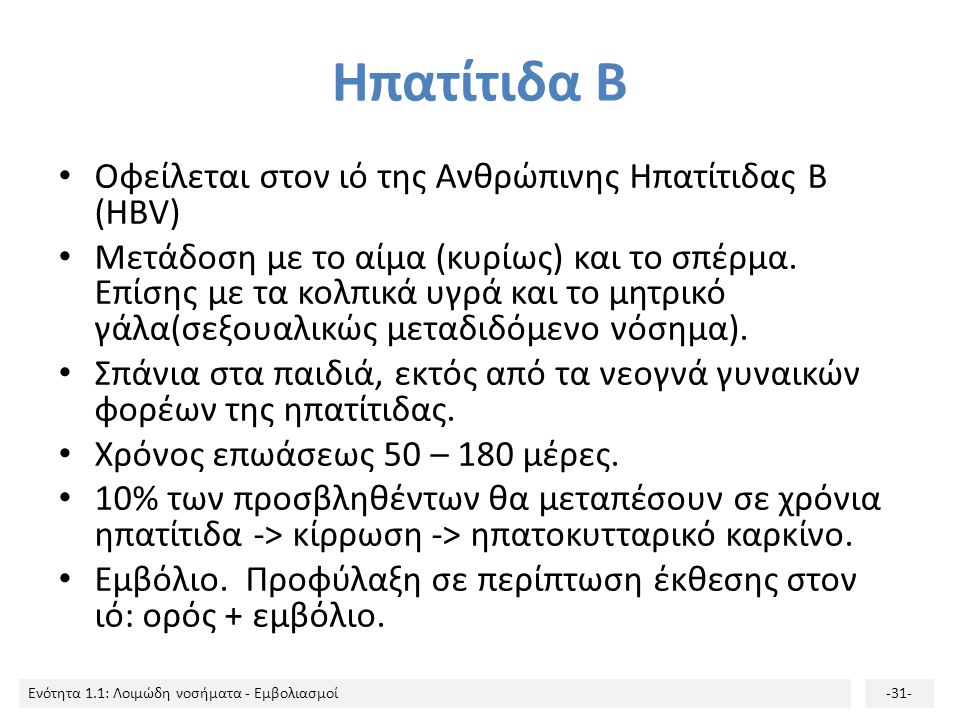 Ηπατίτιδα Β Οφείλεται στον ιό της Ανθρώπινης Ηπατίτιδας B (HBV)