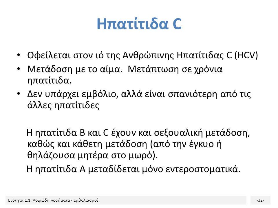 Ηπατίτιδα C Οφείλεται στον ιό της Ανθρώπινης Ηπατίτιδας C (HCV)