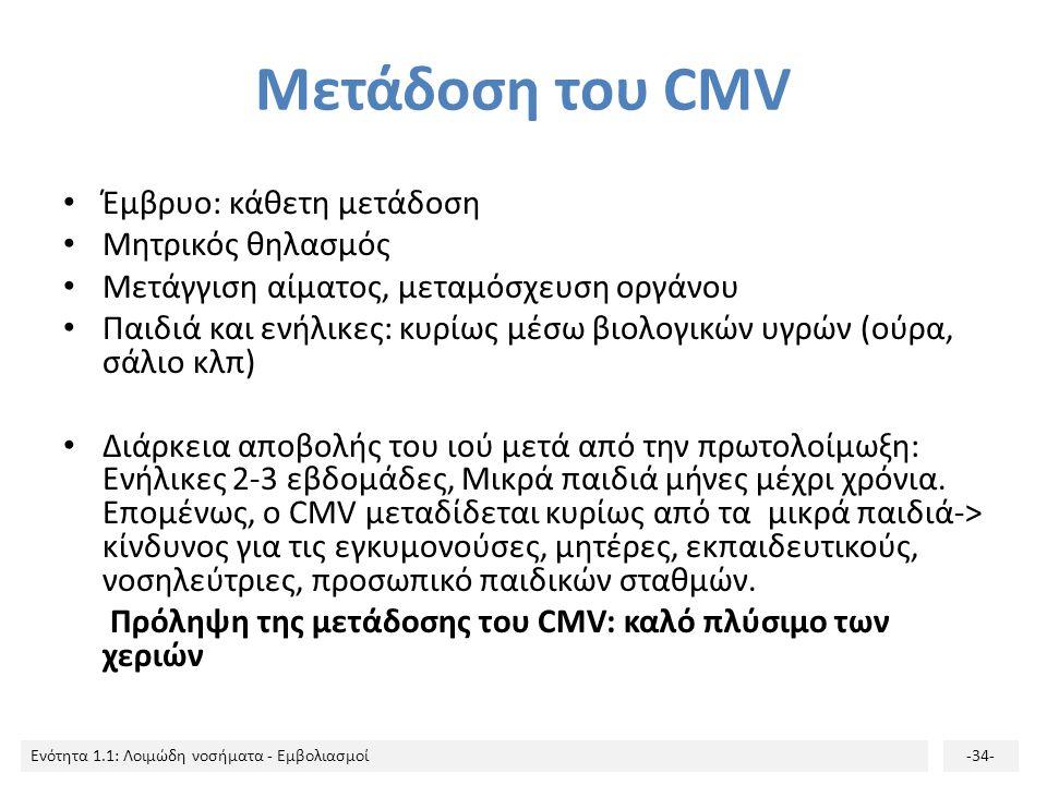 Μετάδοση του CMV Έμβρυο: κάθετη μετάδοση Μητρικός θηλασμός