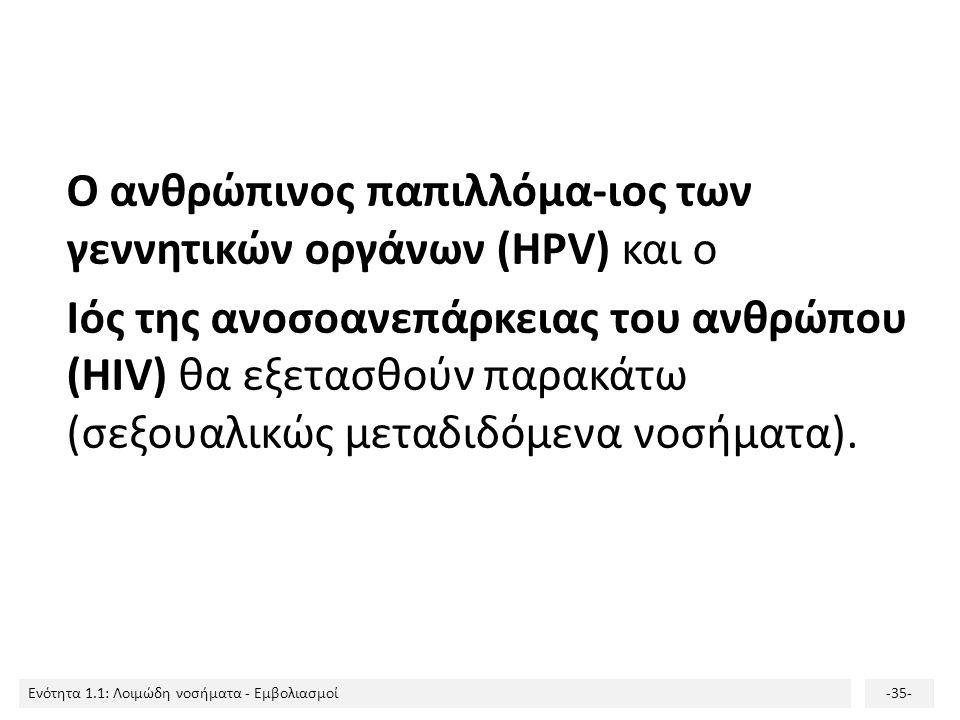 Ο ανθρώπινος παπιλλόμα-ιος των γεννητικών οργάνων (HPV) και ο