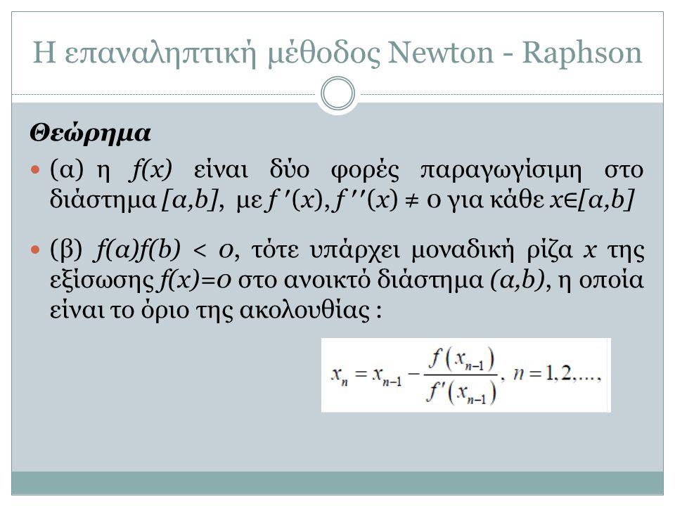 Η επαναληπτική μέθοδος Newton - Raphson