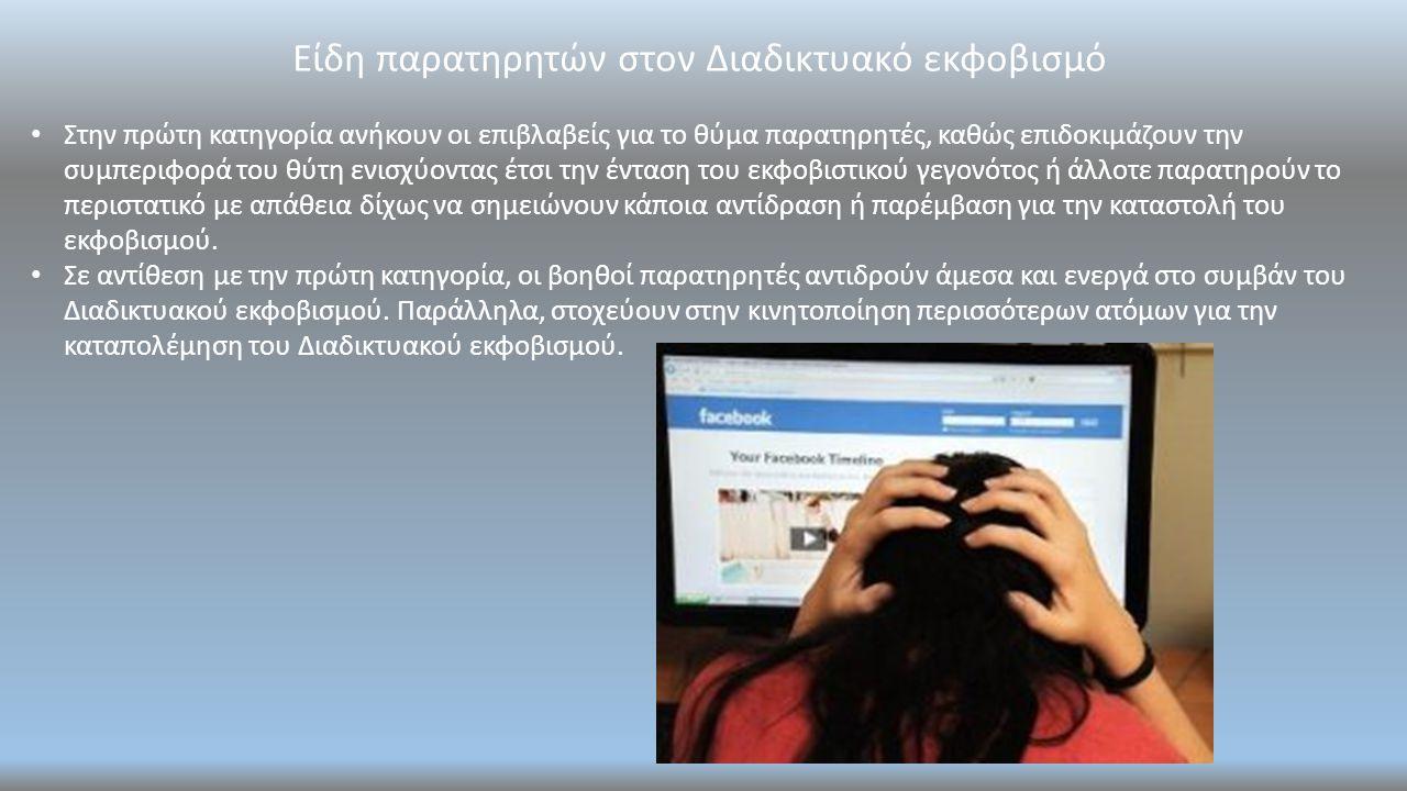 Είδη παρατηρητών στον Διαδικτυακό εκφοβισμό