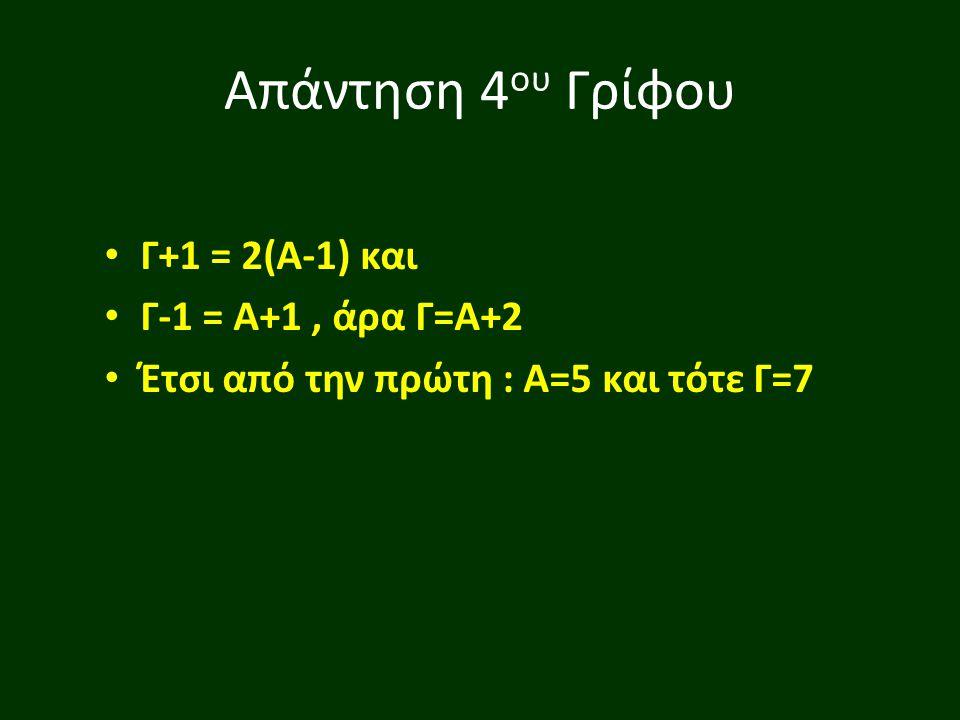 Απάντηση 4ου Γρίφου Γ+1 = 2(Α-1) και Γ-1 = Α+1 , άρα Γ=Α+2