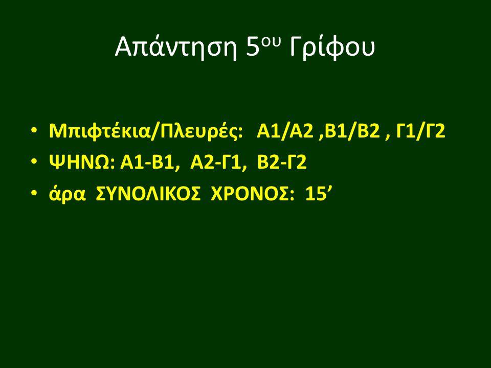 Απάντηση 5ου Γρίφου Μπιφτέκια/Πλευρές: Α1/Α2 ,Β1/Β2 , Γ1/Γ2