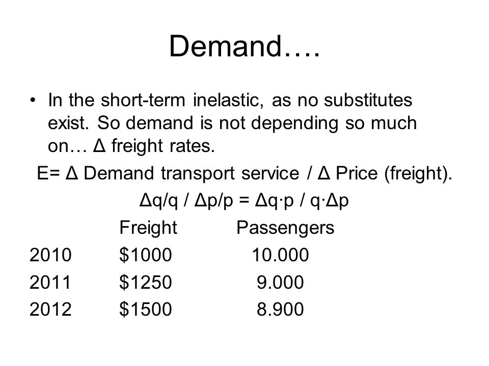 E= Δ Demand transport service / Δ Price (freight).