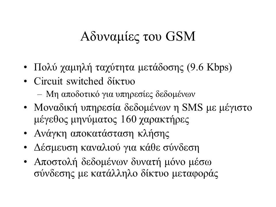 Αδυναμίες του GSM Πολύ χαμηλή ταχύτητα μετάδοσης (9.6 Kbps)