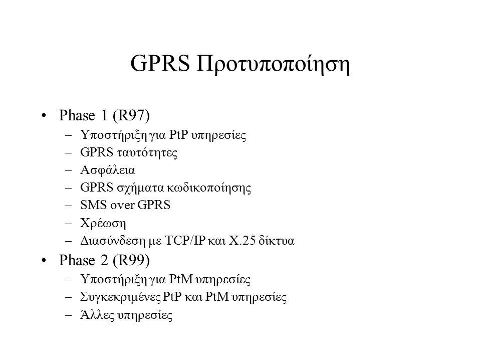 GPRS Προτυποποίηση Phase 1 (R97) Phase 2 (R99)