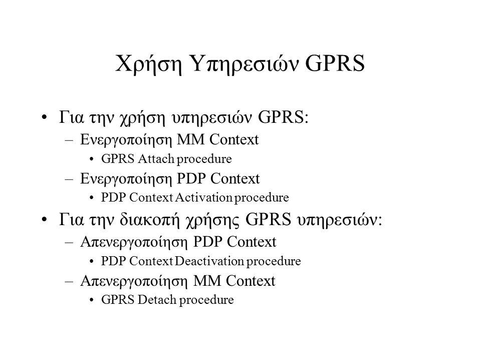 Χρήση Υπηρεσιών GPRS Για την χρήση υπηρεσιών GPRS: