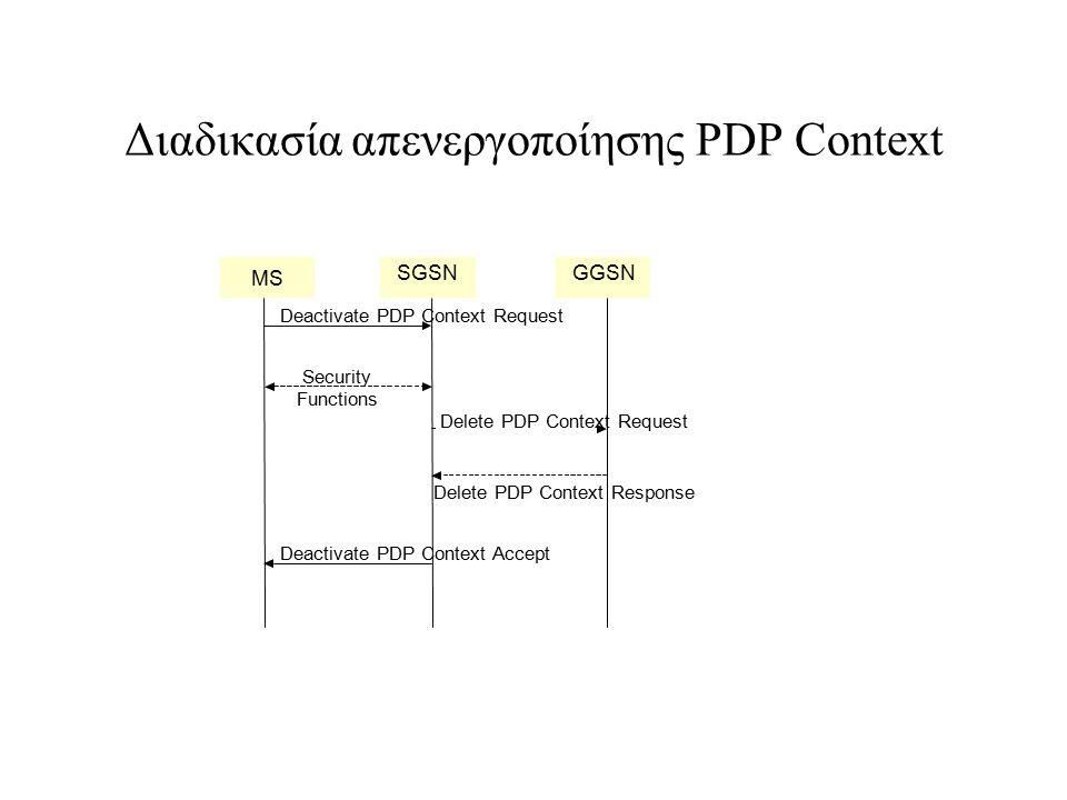 Διαδικασία απενεργοποίησης PDP Context