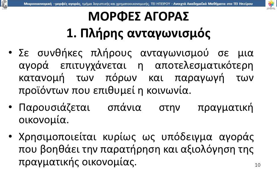 ΜΟΡΦΕΣ ΑΓΟΡΑΣ 1. Πλήρης ανταγωνισµός