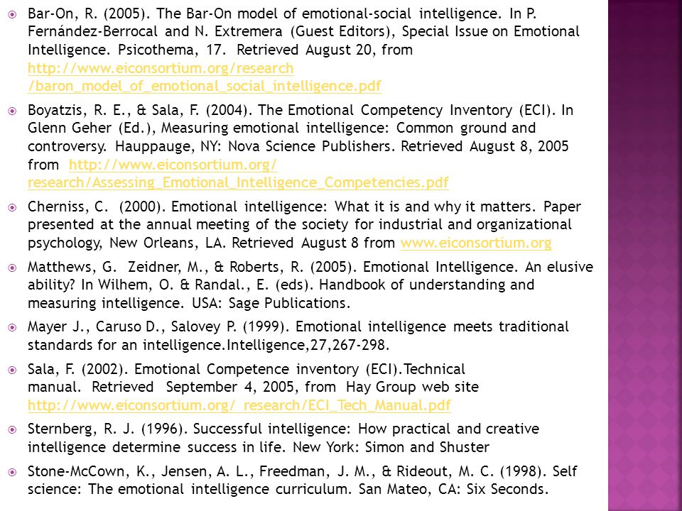 Bar-On, R. (2005). The Bar-On model of emotional-social intelligence
