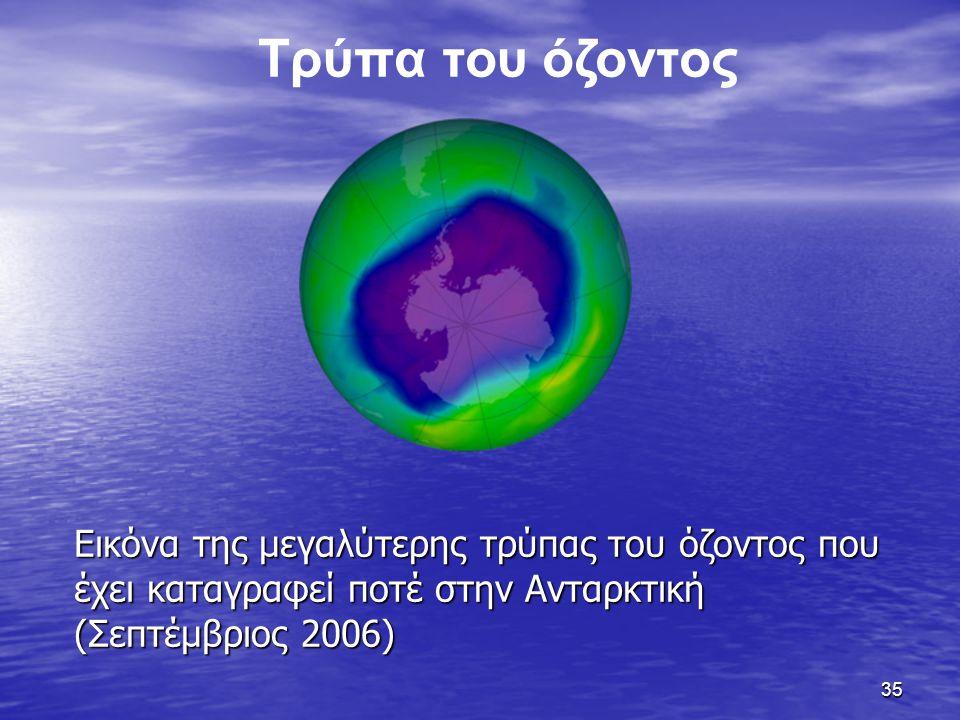 Τρύπα του όζοντος Εικόνα της μεγαλύτερης τρύπας του όζοντος που έχει καταγραφεί ποτέ στην Ανταρκτική (Σεπτέμβριος 2006)