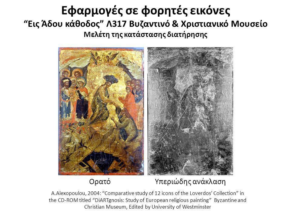 Εφαρμογές σε φορητές εικόνες Σταύρωση Λ532 Βυζαντινό & Χριστιανικό Μουσείο Μελέτη της κατάστασης διατήρησης – Τεχνολογία κατασκευής