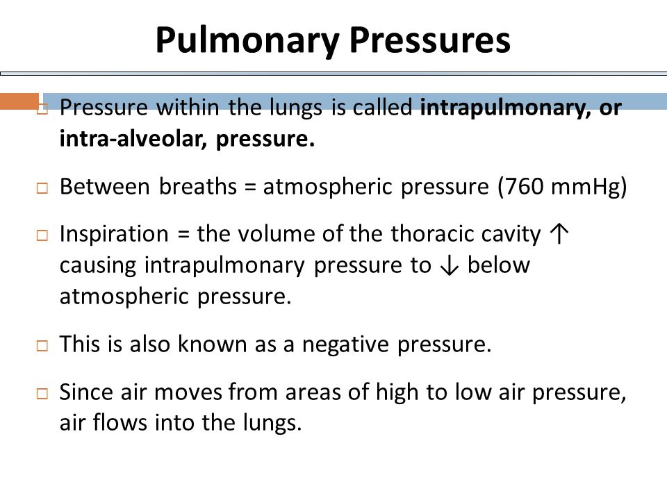 Pulmonary Pressures Pressure within the lungs is called intrapulmonary, or intra-alveolar, pressure.