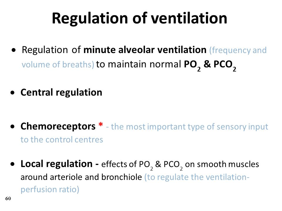 Regulation of ventilation