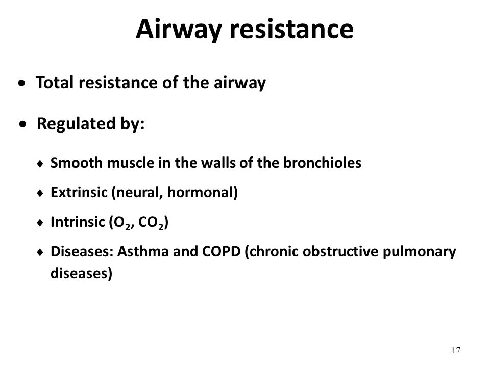 Airway resistance Total resistance of the airway Regulated by: