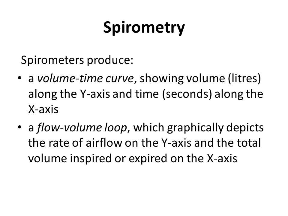 Spirometry Spirometers produce: