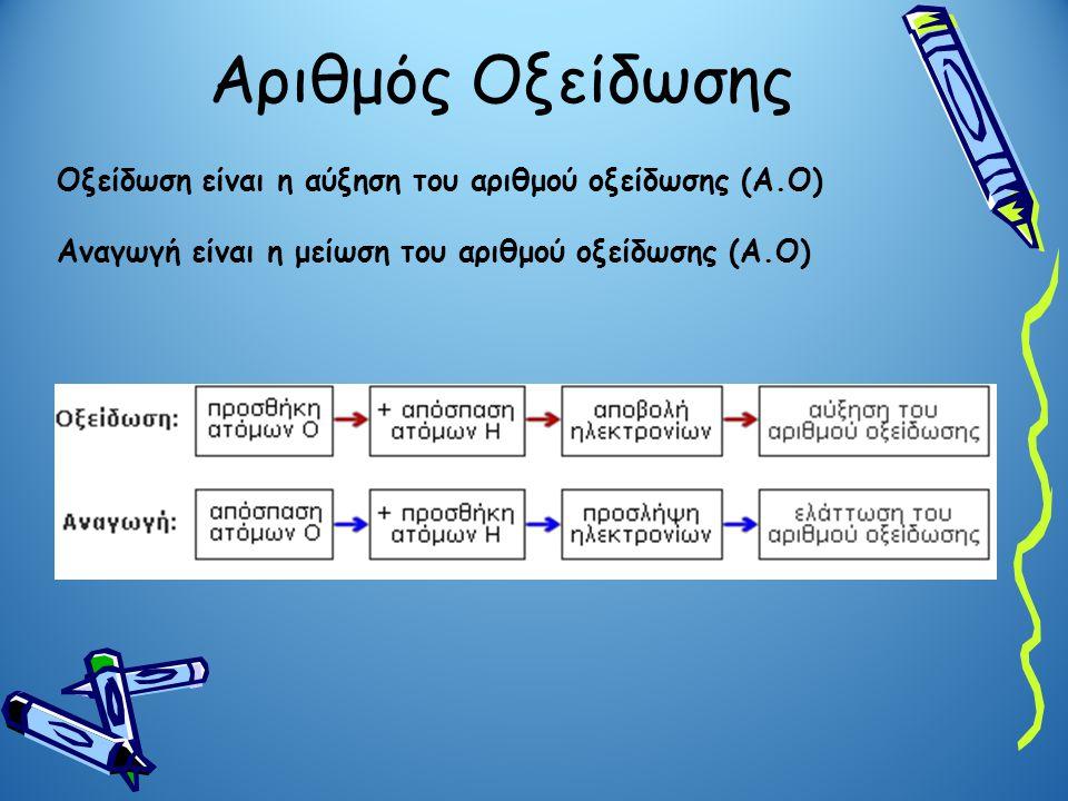 Αριθμός Οξείδωσης Οξείδωση είναι η αύξηση του αριθμού οξείδωσης (Α.Ο)