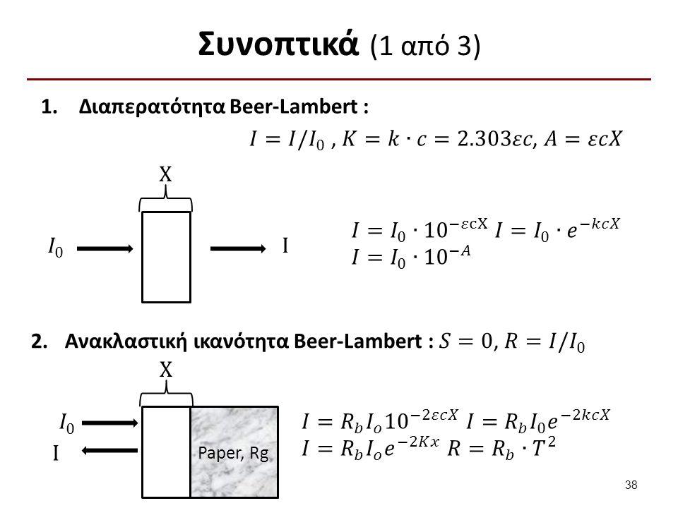 Συνοπτικά (2 από 3) Διαπερατότητα Kubelka-Munk : 𝑆>0, 𝑇=𝐼/ 𝐼 0 X