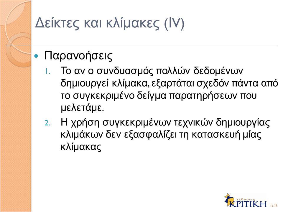 Δείκτες και κλίμακες (ΙV)