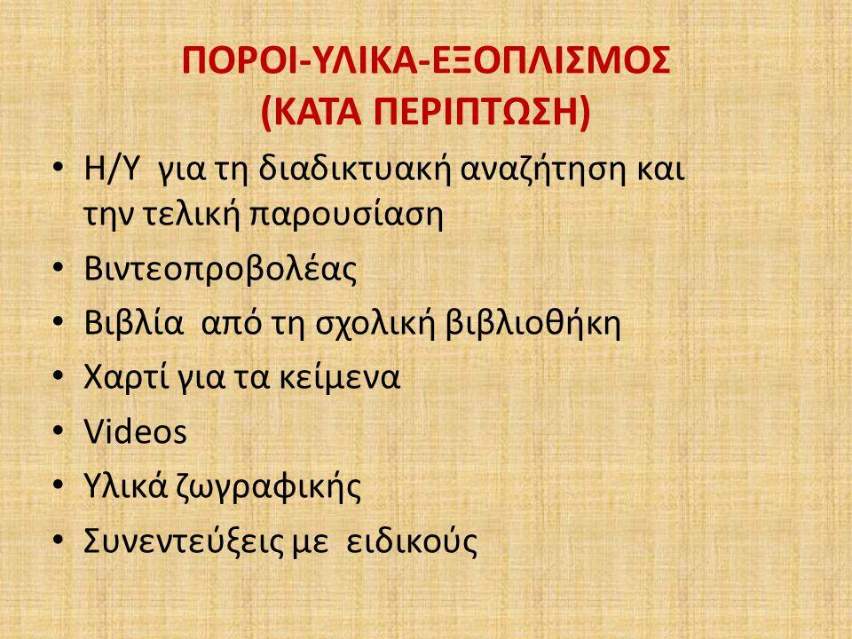 ΠΟΡΟΙ-ΥΛΙΚΑ-ΕΞΟΠΛΙΣΜΟΣ (ΚΑΤΑ ΠΕΡΙΠΤΩΣΗ)