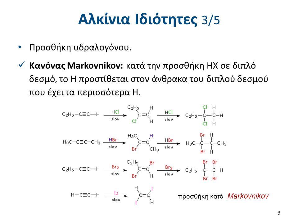 Αλκίνια Ιδιότητες 4/5 Προσθήκη νερού.