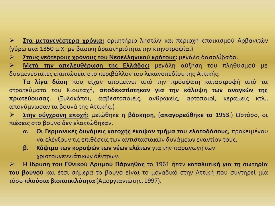 Στα μεταγενέστερα χρόνια: ορμητήριο ληστών και περιοχή εποικισμού Αρβανιτών (γύρω στα 1350 μ.Χ. με βασική δραστηριότητα την κτηνοτροφία.)