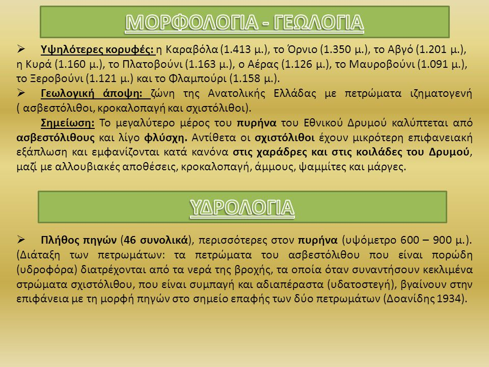 ΜΟΡΦΟΛΟΓΙΑ - ΓΕΩΛΟΓΙΑ ΥΔΡΟΛΟΓΙΑ