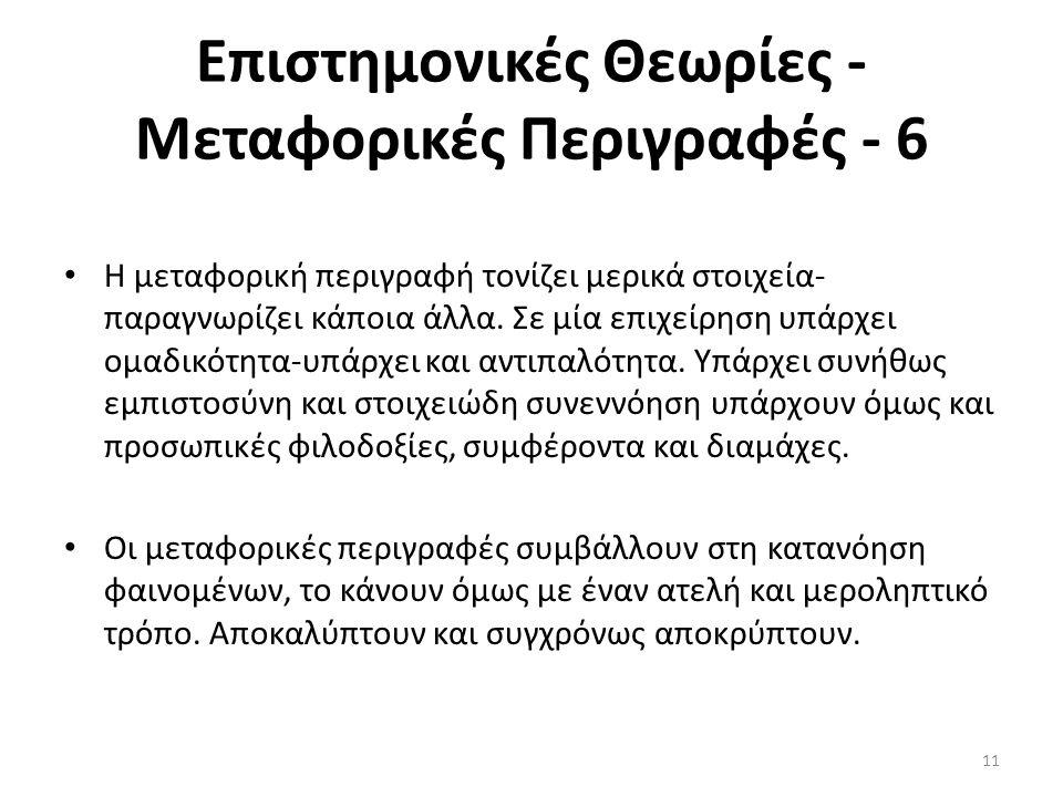 Επιστημονικές Θεωρίες - Μεταφορικές Περιγραφές - 6