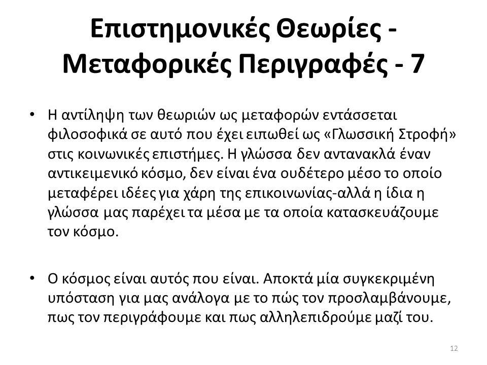 Επιστημονικές Θεωρίες - Μεταφορικές Περιγραφές - 7