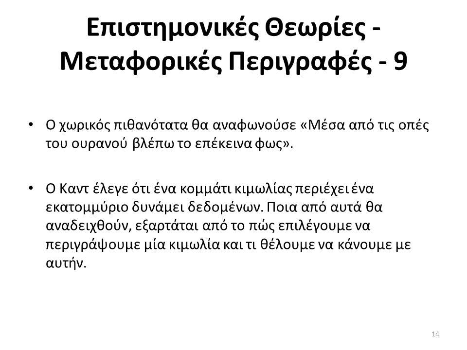 Επιστημονικές Θεωρίες - Μεταφορικές Περιγραφές - 9