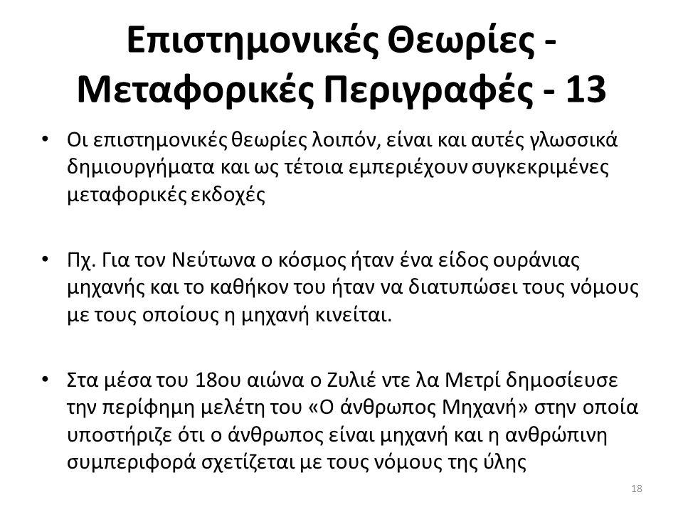Επιστημονικές Θεωρίες - Μεταφορικές Περιγραφές - 13