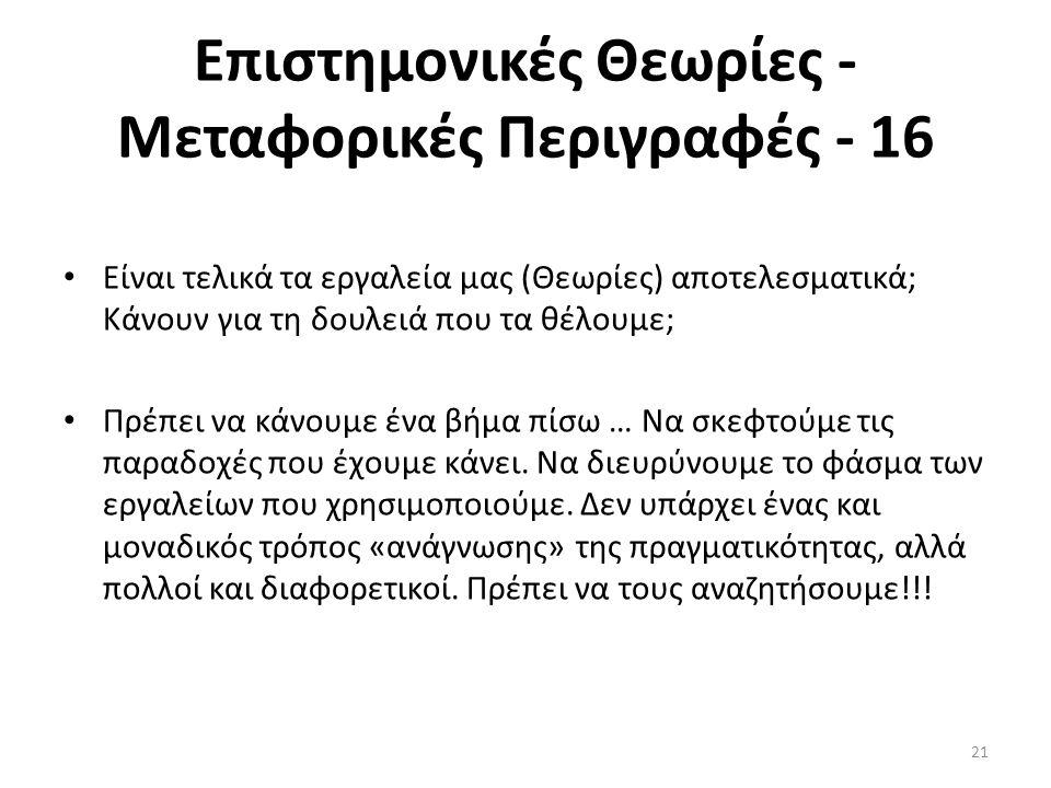 Επιστημονικές Θεωρίες - Μεταφορικές Περιγραφές - 16