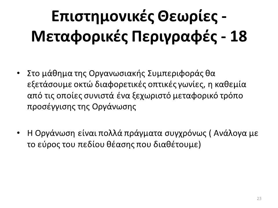 Επιστημονικές Θεωρίες - Μεταφορικές Περιγραφές - 18